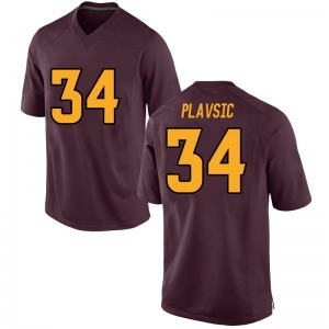 Youth Uros Plavsic Nike Arizona State Sun Devils Youth Replica Maroon Football College Jersey
